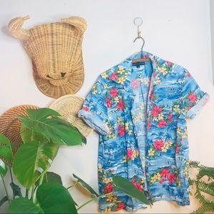 VTG Tommy Hilfiger Hawaiian Button Up Popover